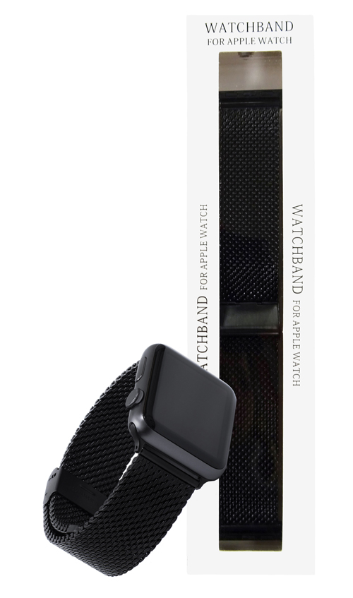 Black Stainless 42mm Steel Loop Apple Watch Strap